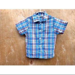 Vintage Carters blue team plaid button up shirt 4T